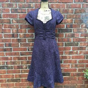 Nanette Lepore Daydream purple tweed work dress.